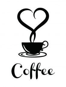 القابل للإزالة القهوة الجدار ملصق للمطبخ - أسود 20*12cm