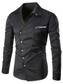 الياقة المستديرة أزرار مائلة مطرزة قميص الجيب - أسود Xl