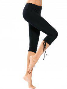 Pantalones Capri Yoga De Cordón - Negro Xl