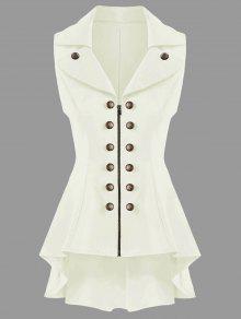 معطف الصدرية عالية انخفاض  - أبيض فاتح Xl