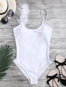 3D Floral Asymmetric One Piece Swimsuit - White S