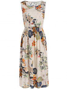 فستان مرونة عالية الخصر النباتات المطبوعة ميدي  - أبيض فاتح