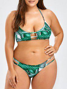 Plus Size Tropical Halter Bikini Set - Green Xl