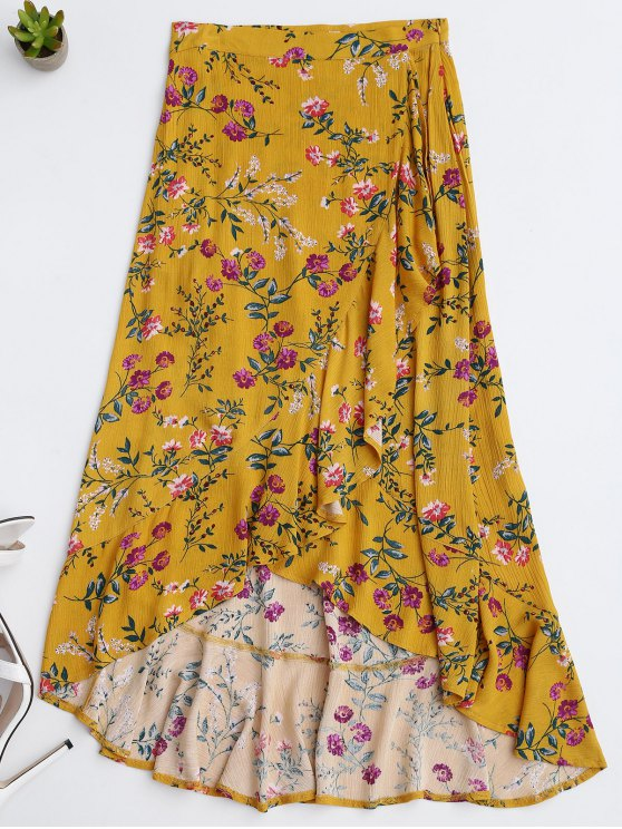 outfits Ruffles Asymmetrical Skirt - YELLOW L