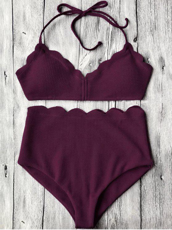 Bikini Smerlato A Vita Alta Con Halter - Merlot M