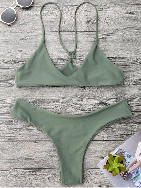 Spaghetti Strap Thong Bikini Set - Verde del ejército L