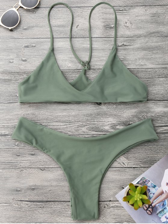 e029d0c80b 23% OFF] 2019 Spaghetti Strap Thong Bikini Set In ARMY GREEN | ZAFUL