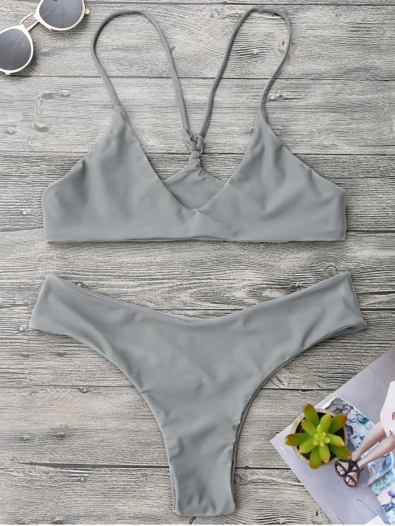 Spaghetti Strap Thong Bikini Set - Gris L