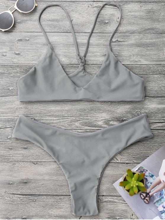 Spaghetti Strap Thong Bikini Set - Gris M