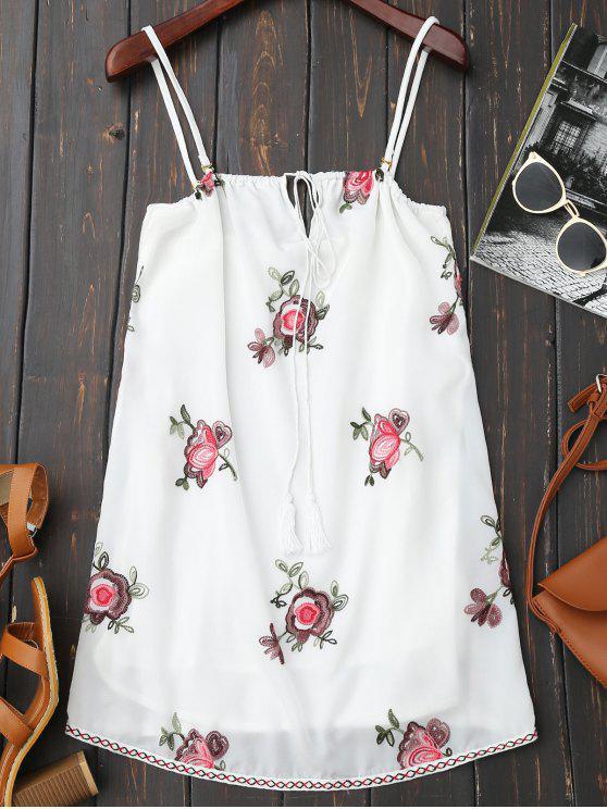 عارية الذراعين الزهور مطرزة زلة اللباس - أبيض 2XL