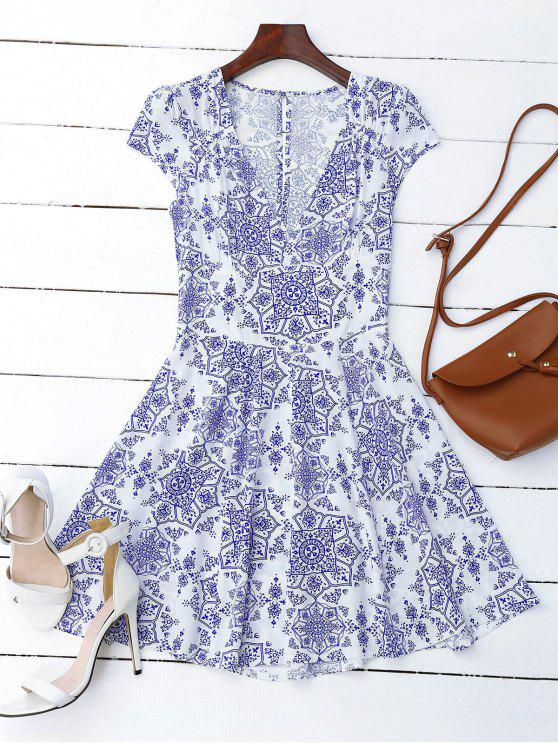 fancy Print Cut Out Fit and Flare Dress - BLUE AND WHITE L