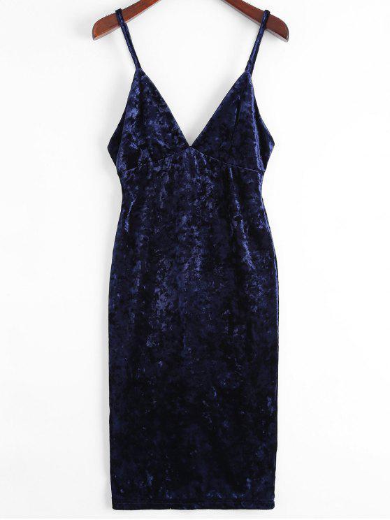 Vestido con cuerpo de terciopelo de terciopelo de Midi - Azul Purpúreo L