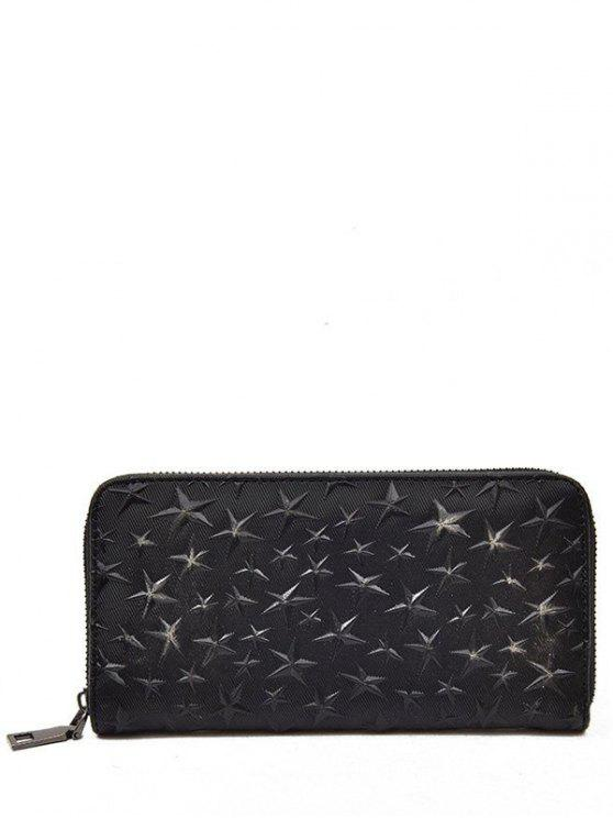 lady Star Embossed Clutch Wallet - BLACK