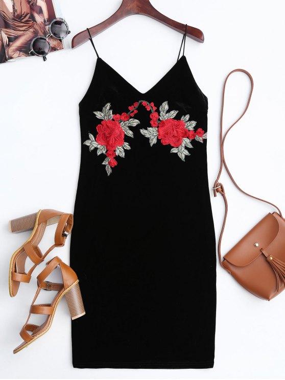 affordable Rose Embroidered Velvet Bodycon Dress - BLACK M