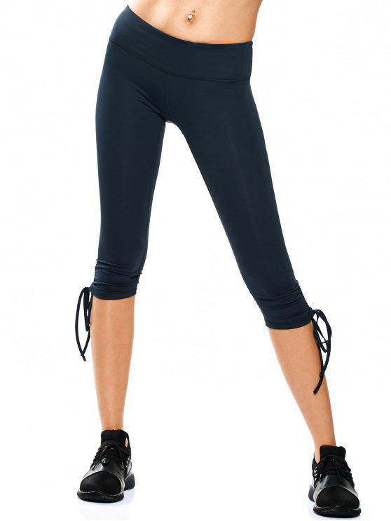 hot Drawstring Hem Capri Yoga Pants - CADETBLUE S