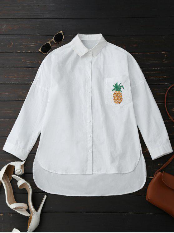 Camisa de bolsillo de la piña del alto novio - Blanco L