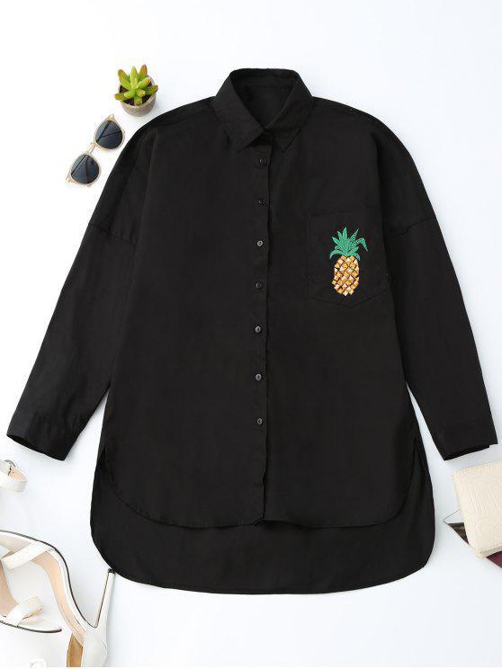 outfit Boyfriend High Low Pineapple Pocket Shirt - BLACK XS