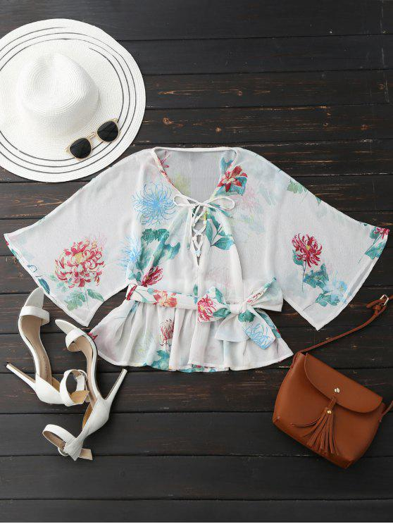 trendy Lace Up Batwing Sleeve Floral Belted Top - WHITE S