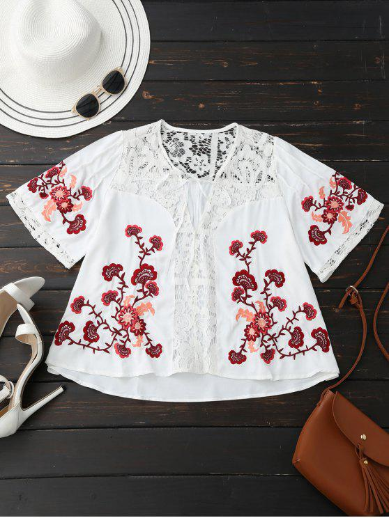 fancy Ribbon Tie Lace Floral Embroidered Blouse - WHITE S