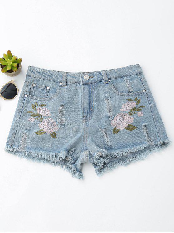 Shorts chauds en denim avec des broderies florales à ourlet déchiré - Bleu Toile de Jean L
