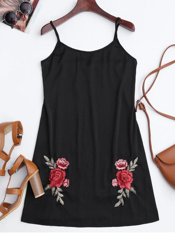 ladies Satin Floral Embroidered Slip Mini Dress - BLACK M