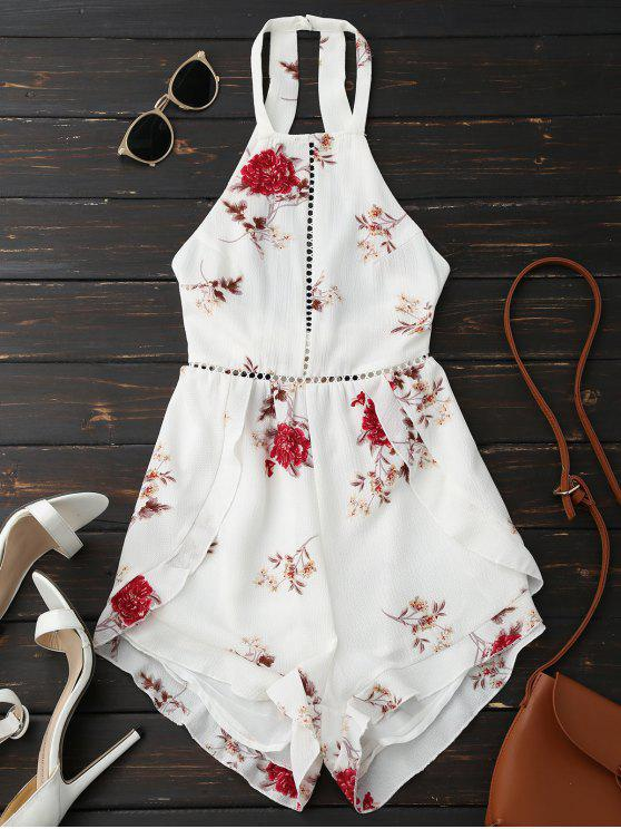 new Open Back Floral Romper With Belt - WHITE M