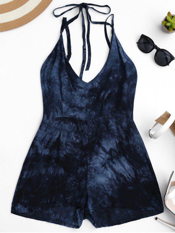 sale Strappy Dipdye Print Romper - PURPLISH BLUE S