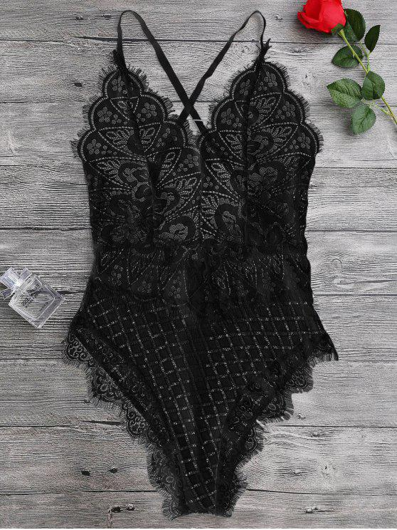 Scaolloped Sheer Cuello de encaje Teddy Bodysuit - Negro S
