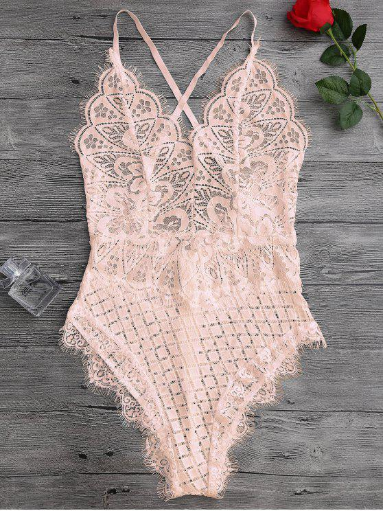 hot Scaolloped Sheer Eyelash Lace Teddy Bodysuit - APRICOT S