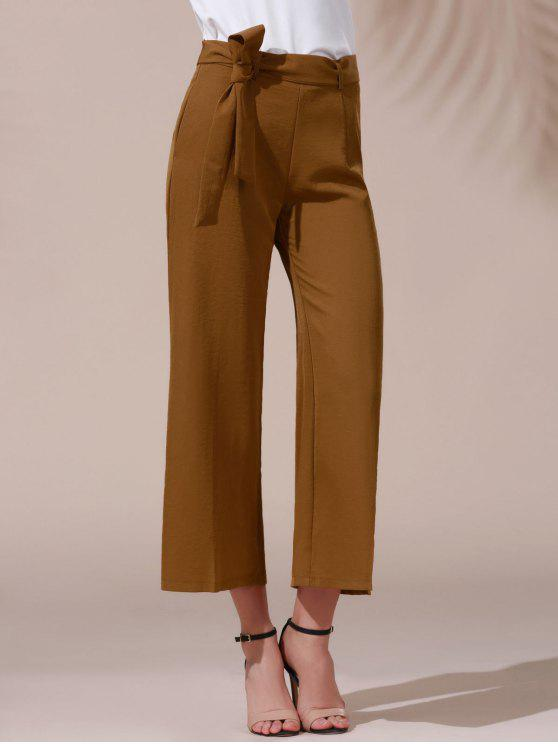hot Solid Color Belted High Waist Wide Leg Pant - DARK KHAKI S