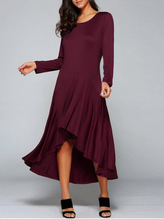 فستان عالية انخفاض طويلة الأكمام - نبيذ أحمر L