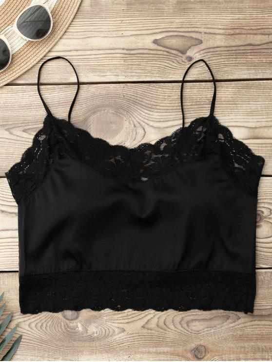 womens Satin Lace Panel Cropped Top - BLACK ONE SIZE