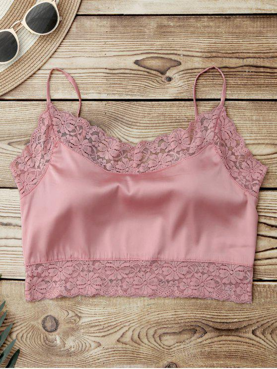 women's Satin Lace Panel Cropped Top - PINK ONE SIZE