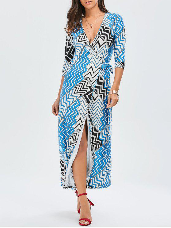 Maxi Zig Zag Slit Wrap Dress - Multicolore L