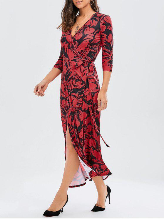 Imprimir Lado Nudo Slit Maxi Wrap Vestido - Rojo oscuro L