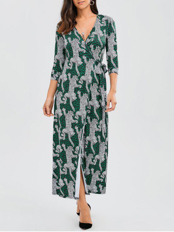 Leopard Wrap Maxi Dress - Leopardo L