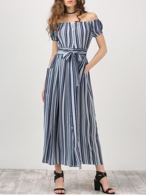 fancy Button Up Off Shoulder Dress With Stripe - STRIPE S