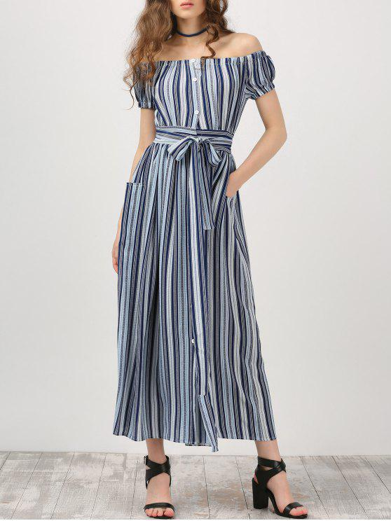 sale Button Up Off Shoulder Dress With Stripe - STRIPE L