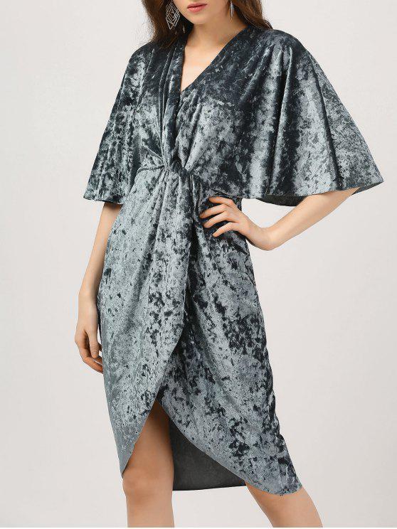 ladies Plunge Twist Front Asymmetric Velvet Dress - BLUE GRAY L