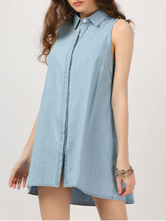 online Button Up Sleeveless Chambray Dress - DENIM BLUE S