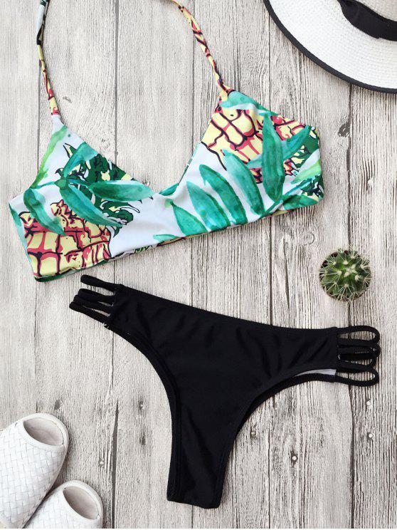 Traje de Bikini Reversible con Cordón con Estampado de Hoja - Negro S