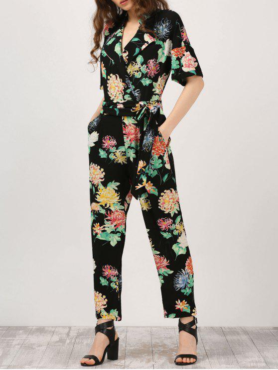 lady Floral Surplice Jumpsuit With Pocket - BLACK S