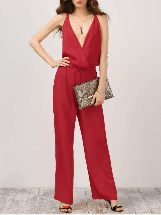 hot Plunge Open Back Chiffon Jumpsuit - RED M