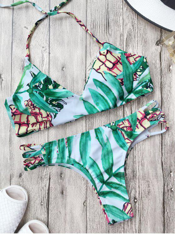 Traje de Bikini Reversible de Cordones con Estampado de Hoja - Verde Claro L