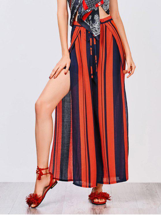 women's High Slit Wide Leg Pants - COLORMIX L