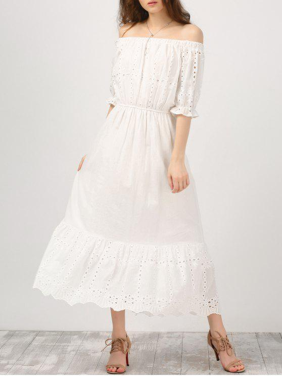trendy Off Shoulder Ruffle Hollow Out Dress - WHITE S