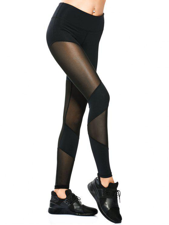 Leggings Yoga Skinny à Empiècement en Maille - Noir S