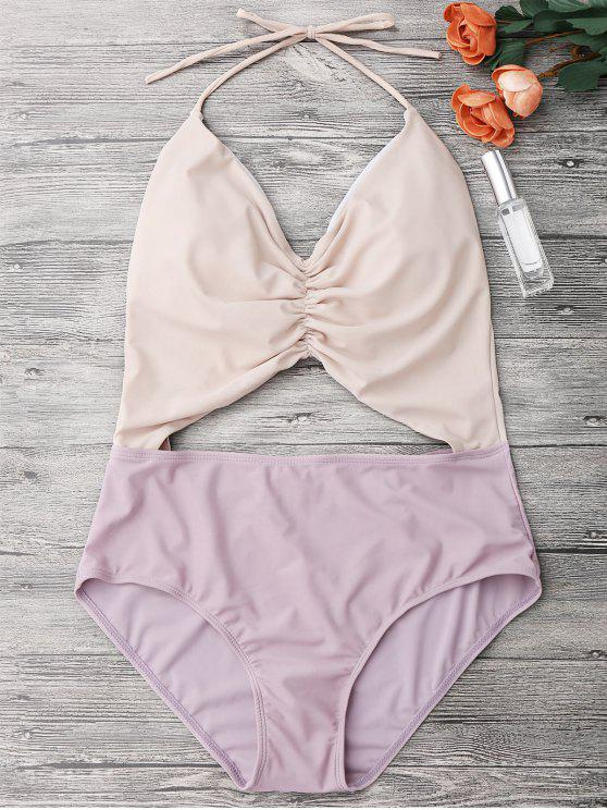 latest Color Block Ruched Cutout One Piece Swimsuit - NUDE M