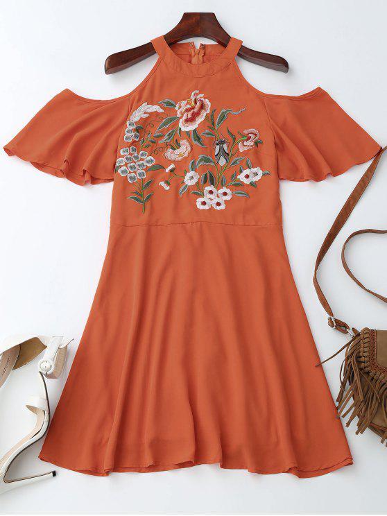 Stein Hals Kaltes Schulter Blumen Besticktes Kleid - Orangerot S