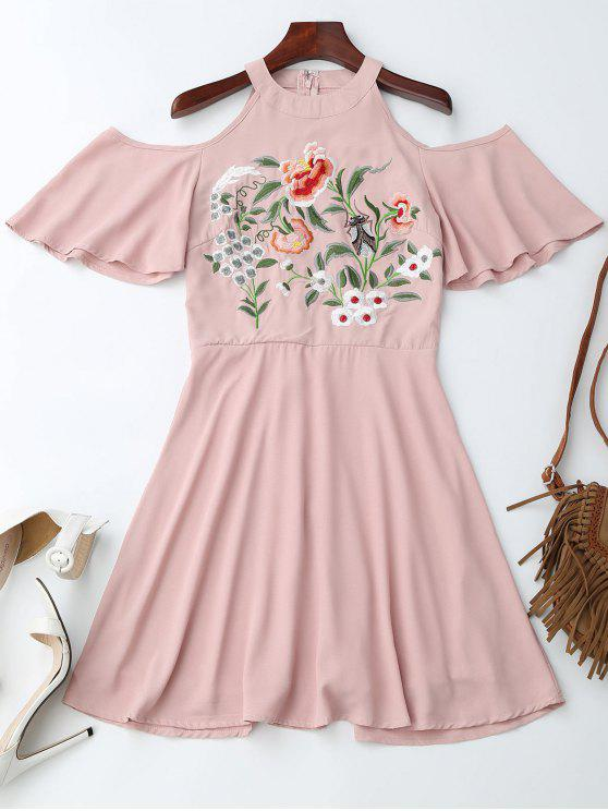 unique Jewel Neck Cold Shoulder Floral Embroidered Dress - PINK S